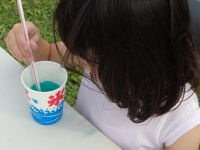 かき氷を食べる娘